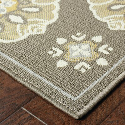 Milltown Grey/Gold Indoor/Outdoor Area Rug Rug Size: 53 x 76