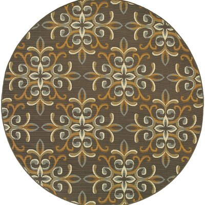 Milltown Grey/Gold Indoor/Outdoor Area Rug Rug Size: Round 710