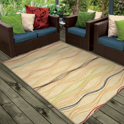 Dustin Beige Indoor/Outdoor Area Rug Rug Size: 52 x 76