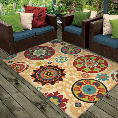 Phelps Beige Indoor/Outdoor Area Rug Rug Size: Rectangle 52 x 76