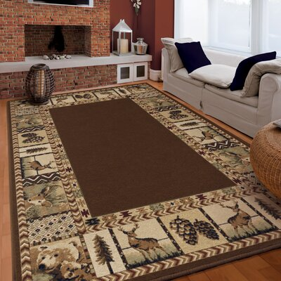 Thorpe Brown Area Rug Rug Size: 53 x 76