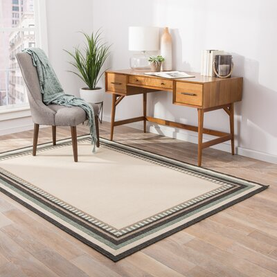 Somers Hand-Hooked Ivory/Black Indoor/Outdoor Area Rug Rug Size: 53 x 76