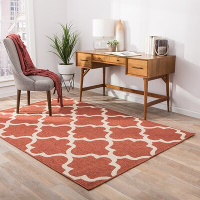 Somers Hand-Hooked Red Indoor/Outdoor Area Rug Rug Size: 4 x 53
