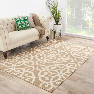 Somers Hand-Hooked Beige/White Indoor/Outdoor Area Rug Rug Size: 53 x 76