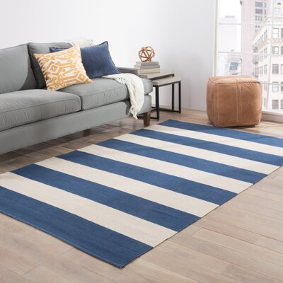 Winchester Hand-Woven Blue/White Area Rug Rug Size: 2 x 3