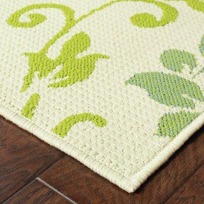 Newfield Ivory/Green Indoor/Outdoor Area Rug Rug Size: 67 x 96