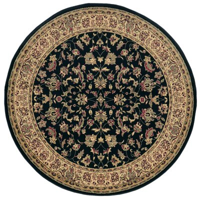 Columbus Black/Brown Area Rug Rug Size: Round 53