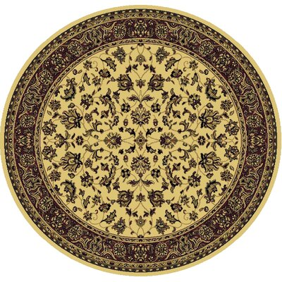 Columbus Ivory/Brown Area Rug Rug Size: Round 5'3