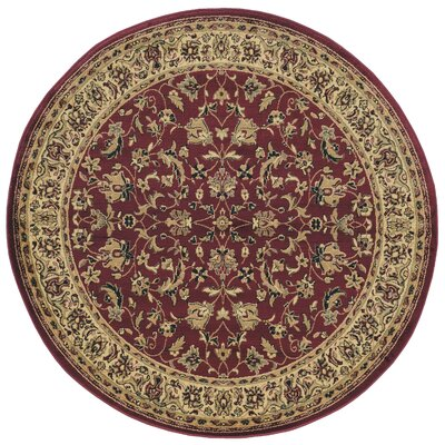 Columbus Burgundy/Brown Area Rug Rug Size: Round 53