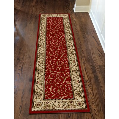 Colebrook Red Area Rug Rug Size: Runner 22 x 77