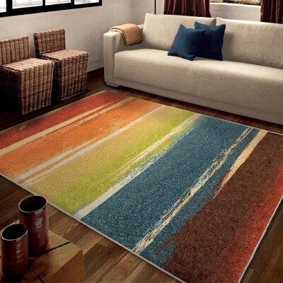 Hobart Orange/Red Area Rug Rug Size: 53 x 76