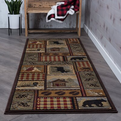 Victor Red/Brown Area Rug Rug Size: Runner 27 x 73