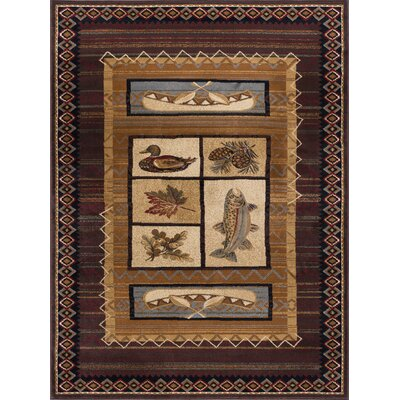 Stanley Brown Area Rug Rug Size: 53 x 73