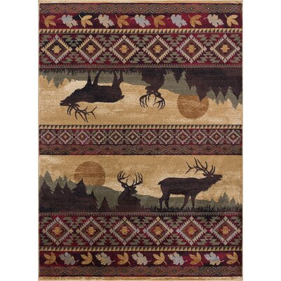 Victor Red/Brown Area Rug Rug Size: 53 x 73