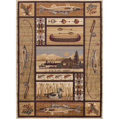 Justine Ivory/Brown Area Rug Rug Size: Rectangle 5 x 8
