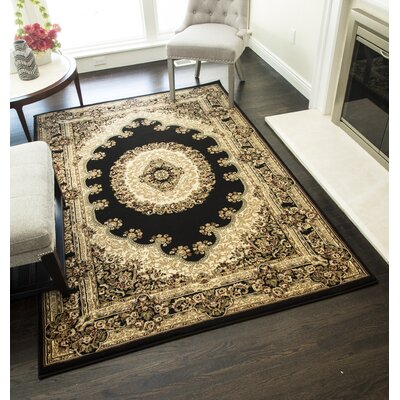 Gloucester Black Area Rug Rug Size: Rectangle 2 x 211