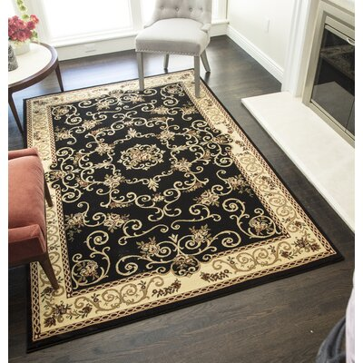 Gloucester Black Area Rug Rug Size: Rectangle 710 x 1010