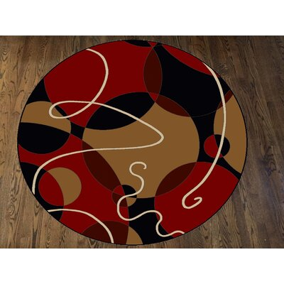 Zorgo Black/Red Area Rug Rug Size: Round 8