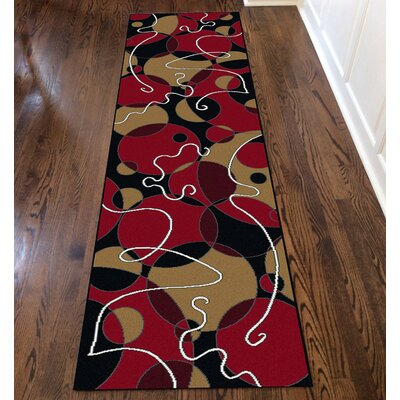 Zorgo Black/Red Area Rug Rug Size: Runner 22 x 77