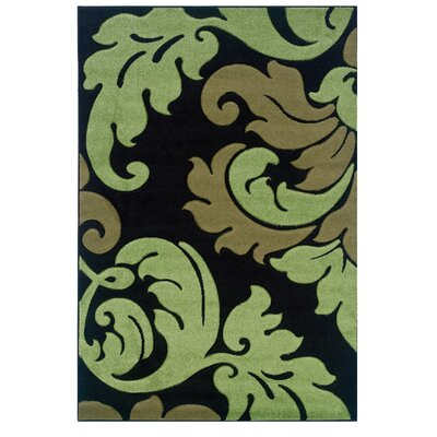 Black/Green Area Rug Rug Size: 110 x 210