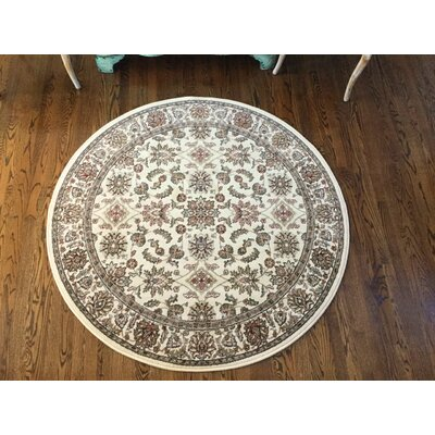 Colebrook Beige/Brown Area Rug Rug Size: Round 53