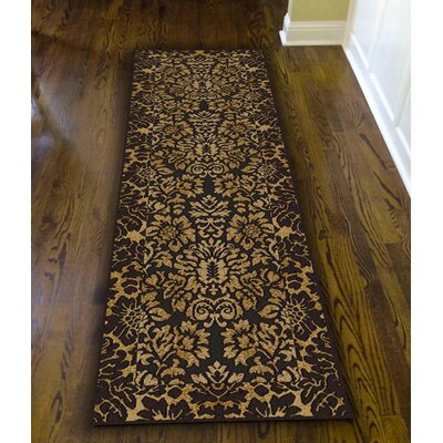 Colebrook Brown/Gold Area Rug Rug Size: Runner 22 x 77