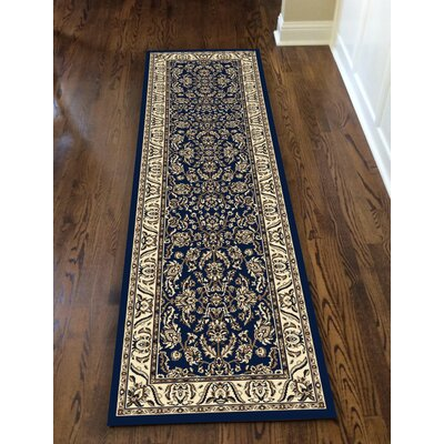 Weiser Traditional Rectangle Blue Area Rug Rug Size: Runner 22 x 77