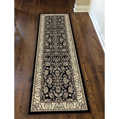 Weiser Rectangle Black Area Rug Rug Size: Runner 22 x 77
