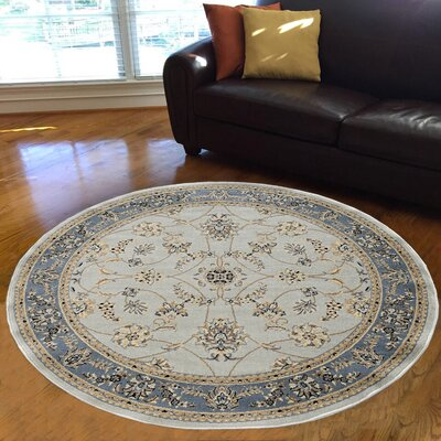Newport Soft Mint/Ivory/Beige Area Rug Rug Size: Round 53
