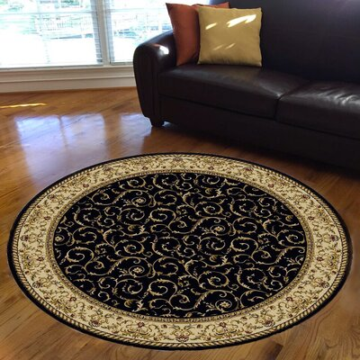 Weisgerber Black Area Rug Rug Size: Round 8'
