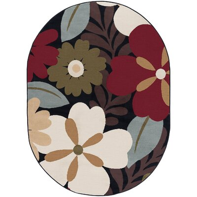 Strope Brown Area Rug Rug Size: Oval 53 x 73