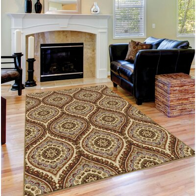 Clara Red/Beige Area Rug Rug Size: Rectangle 76 x 910
