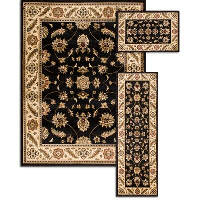 Penfield Black 3 Piece Area Rug Set