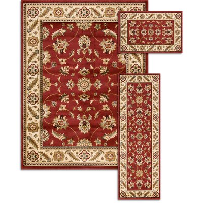 Penfield Red 3 Piece Area Rug Set