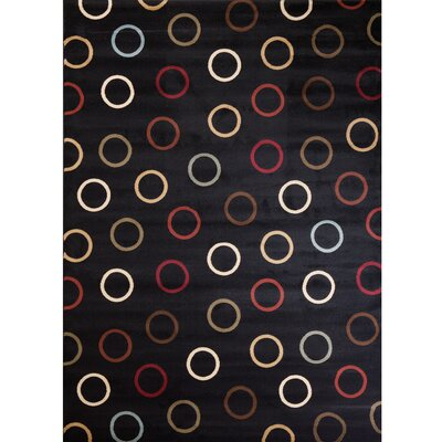 Soho Tribeca Circles Black Area Rug Rug Size: 53 x 73