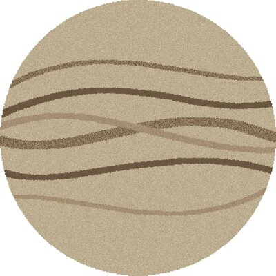 Shaggy Waves Natural Area Rug Rug Size: Round 67