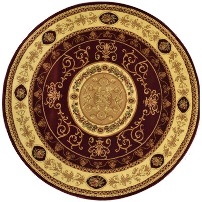 Gloucester Red Area Rug Rug Size: Round 53