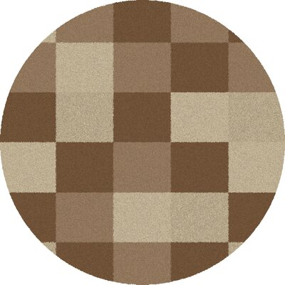 Shaggy Blocks Natural Area Rug Rug Size: Round 67