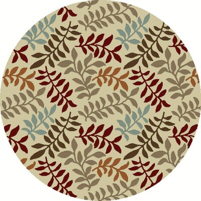 Chester Ivory Leafs Area Rug Rug Size: Round 53