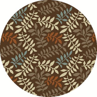 Chester Brown Leafs Area Rug Rug Size: Round 710