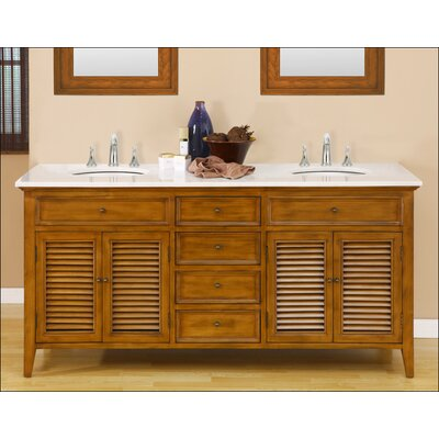 Mission Double Sink 70 Bathroom Vanity Set Top Finish: White Marble