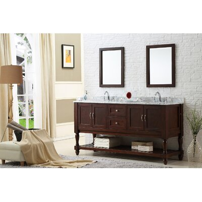 Mission Turnleg 70 Double Vanity Set Base Finish: Espresso, Top Finish: Carrera White Marble
