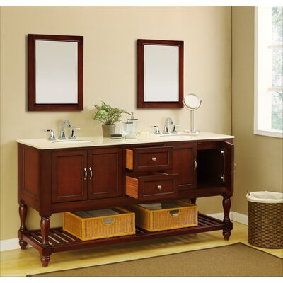 Mission Turnleg 70 Double Vanity Set Base Finish: Espresso, Top Finish: Beige Marble