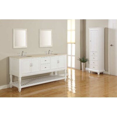 Mission Turnleg 70 Double Vanity Set Base Finish: Pearl White, Top Finish: Beige Marble