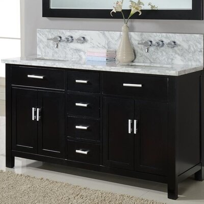Hutton Spa 63 Double Premium Bathroom Vanity Set with Mirror Base Finish: Ebony