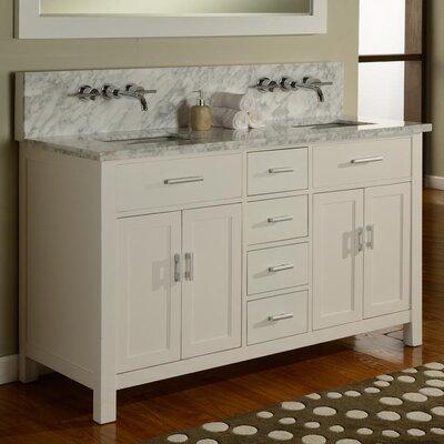 Hutton Spa 63 Double Premium Bathroom Vanity Set with Mirror Base Finish: Pearl White