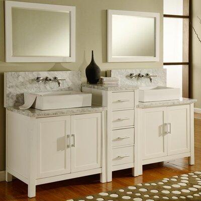 Horizon 84 Double Premium Bathroom Vanity Set with Mirror Base Finish: Pearl White
