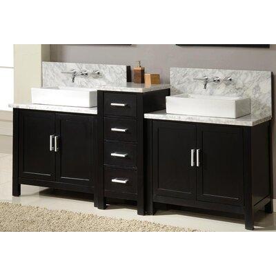 Horizon 84 Double Premium Bathroom Vanity Set with Mirror Base Finish: Ebony
