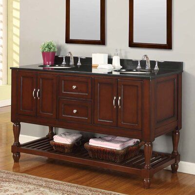 Mission Turnleg Spa 60 Double Bathroom Vanity Set Base Finish: Pearl White, Top Finish: Black Granite
