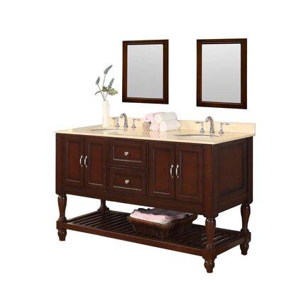 Mission Turnleg Spa 60 Double Bathroom Vanity Set Base Finish: Espresso, Top Finish: Beige Marble